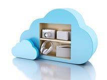 Datenverarbeitungskonzept der Wolke 3d mit Multimediaikonen auf weißem backgr Stockfotografie