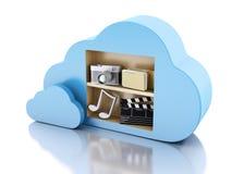 Datenverarbeitungskonzept der Wolke 3d mit Multimediaikonen auf weißem backgr Lizenzfreie Stockfotografie