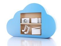 Datenverarbeitungskonzept der Wolke 3d mit Multimediaikonen auf weißem backgr Lizenzfreie Stockbilder