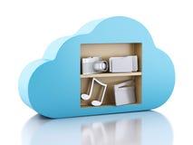 Datenverarbeitungskonzept der Wolke 3d mit Multimediaikonen auf weißem backgr Stockfotos