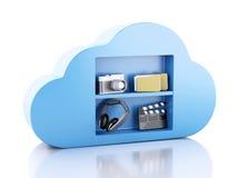 Datenverarbeitungskonzept der Wolke 3d mit Multimediaikonen auf weißem backgr Lizenzfreies Stockfoto
