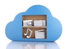 Datenverarbeitungskonzept der Wolke 3d mit Multimediaikonen auf weißem backgr Stockfoto