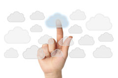 Datenverarbeitungskonzept der Wolke mit der Hand Lizenzfreie Stockfotografie