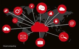 Datenverarbeitungskonzept der Wolke mit Weltkarteschnittstellenneon Stockfotos