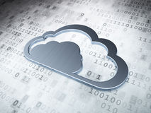 Datenverarbeitungskonzept der Wolke: Silberne Wolke auf digitalem Stockfotografie