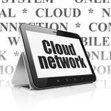 Datenverarbeitungskonzept der Wolke: Tablet-Computer mit Wolken-Netz auf Anzeige stock abbildung