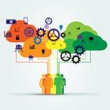 Datenverarbeitungskonzepte der Teamwork und der Wolke stock abbildung