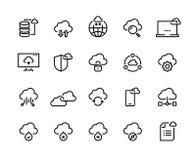 Datenverarbeitungslinie Ikonen der Wolke Datenspeicherungsstorage technology Informationsinfrastruktur-Systemdaten Wolkenzugangs- stock abbildung