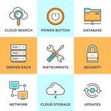 Datenverarbeitungslinie Ikonen der Wolke eingestellt Lizenzfreie Stockfotos