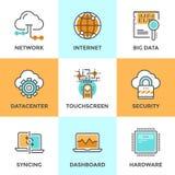 Datenverarbeitungslinie Ikonen der Wolke eingestellt Lizenzfreie Stockbilder