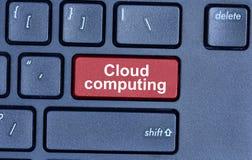 Datenverarbeitungswörter der Wolke auf Tastaturknopf Stockbild