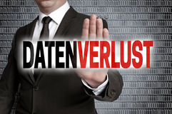 datenverlust (in german data loss) with matrix is shown by businessman stock photos