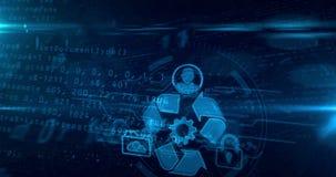 Datenverwaltungshologramm stock abbildung