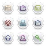 Datenweb-Farbenikonen, weißer Kreis knöpft Stockbild