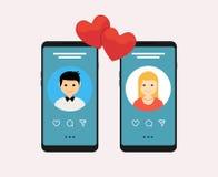 Datera apponline-mobilt begrepp Plan design för kvinnlig manlig profil Koppla ihop matchen för förhållande royaltyfri illustrationer