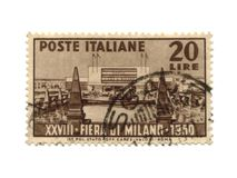 daterad italy portostämpel för 1950 Arkivbilder