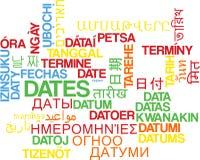 Daterar multilanguage wordcloudbakgrundsbegrepp Royaltyfria Foton