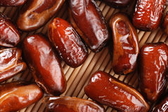 Dates. Photographed up close on wooden background Royalty Free Stock Images