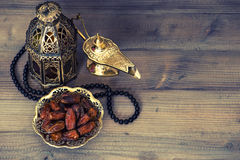 Dates, arabian lantern and rosary. Ramadan decoration Stock Photography