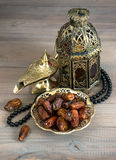 Dates, arabic lamps and rosary Royalty Free Stock Photo