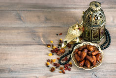 Dates, arabic lamps and rosary. Islamic holidays decoration Royalty Free Stock Photography