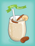 Dates and banana milkshake vector and cliparts Stock Images