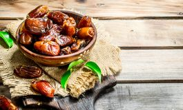 Dates in bowl stock photo