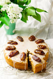 Dates cake with glaze Royalty Free Stock Photo