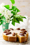 Dates cake with glaze Royalty Free Stock Images
