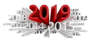Dates cloud with the year 2019 in red stock images