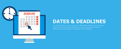 Dates and Deadlines banner. Computer with calendar, clock and hourglass Royalty Free Stock Photography