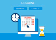 Dates and Deadlines banner. Computer with calendar, clock and hourglass Stock Images