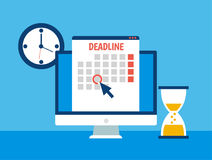 Dates and Deadlines banner. Computer with calendar, clock and hourglass Royalty Free Stock Photo