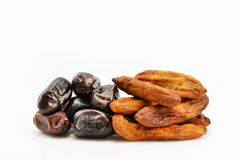 Dates and dried bananas Stock Photography