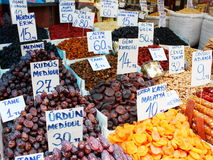 Dates, figs and other dried fruits sold on a Turkish fruit market Stock Photo