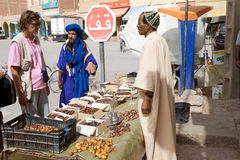 Dates fruit berber seller Royalty Free Stock Photos