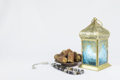 Dates fruits and luxury rosary,with Traditional Lantern Stock Image