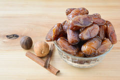 Dates in glass bowl Royalty Free Stock Photography