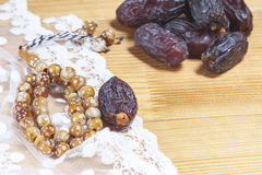 Dates  with islamic rosary. Stock Photography