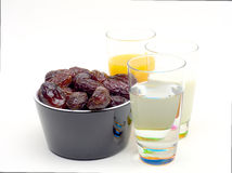 Dates jiuc milk and water Stock Photography