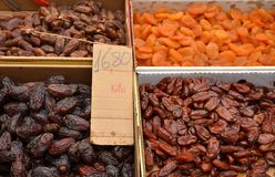 Dates on a market. Dates fruit. Date - food Stock Photos
