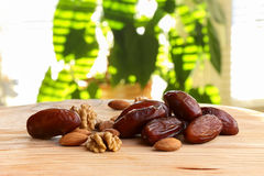 Dates and nuts on a wooden table Stock Photography