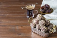 Dates and oatmeal energy balls or bites no cook royalty free stock photos