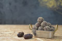 Dates and oatmeal energy balls or bites no cook royalty free stock images