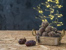 Dates and oatmeal energy balls or bites no cook stock image