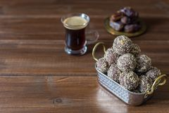 Dates and oatmeal energy balls or bites no cook royalty free stock photography