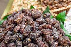 Dates on sale at a market stall, La Boqueria Royalty Free Stock Image