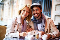 Dates sitting in cafe Stock Image
