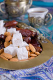 Dates, sweets and nuts Royalty Free Stock Photography