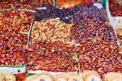 Dates on a traditional Moroccan market (souk) in Essaouira, Morocco Royalty Free Stock Images